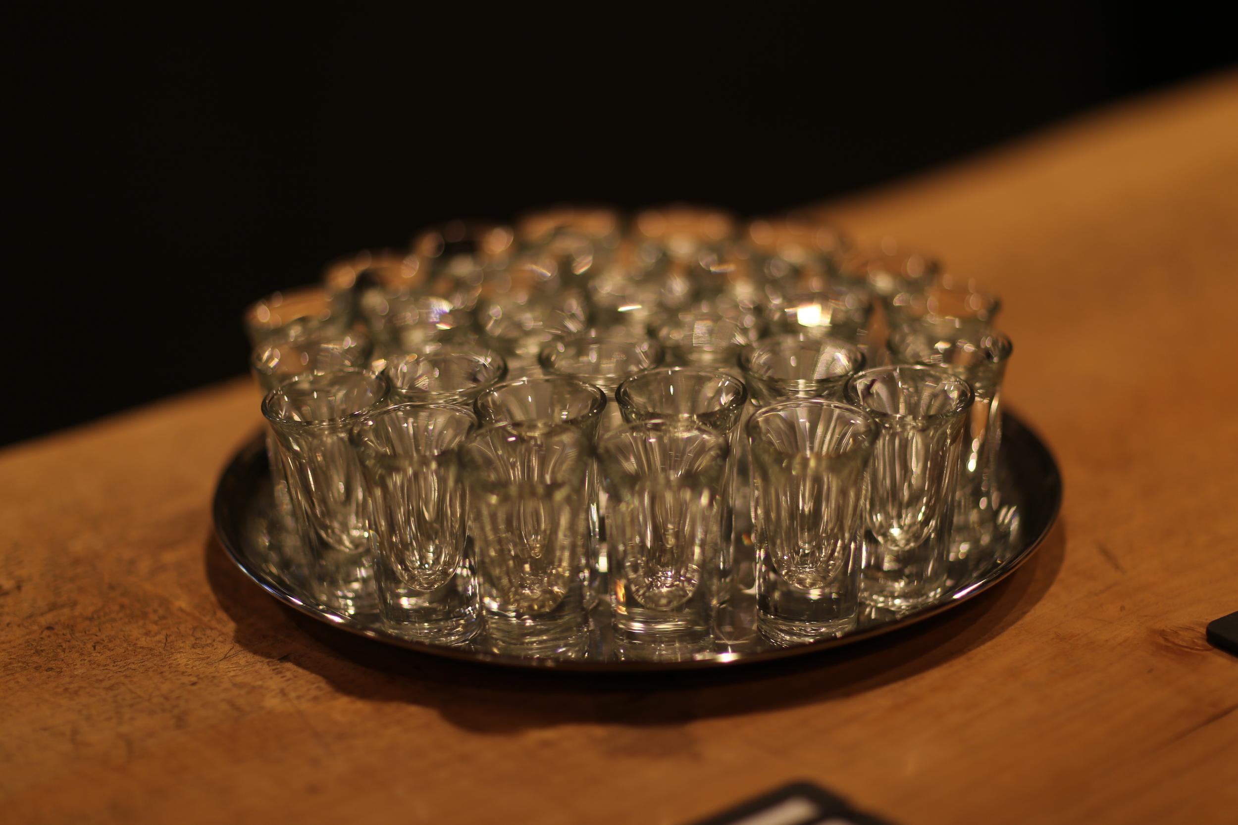Shot glasses for our tasting