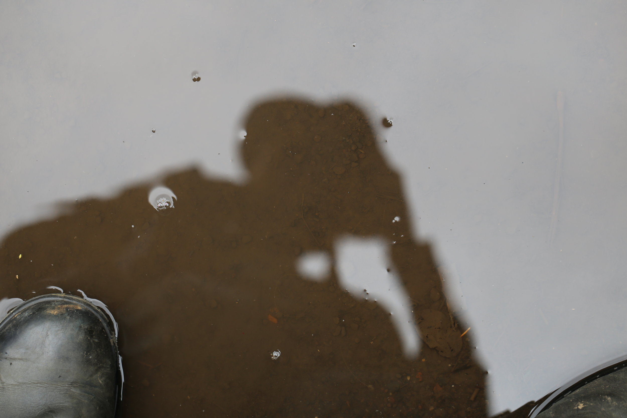 Puddle selfie silhouette