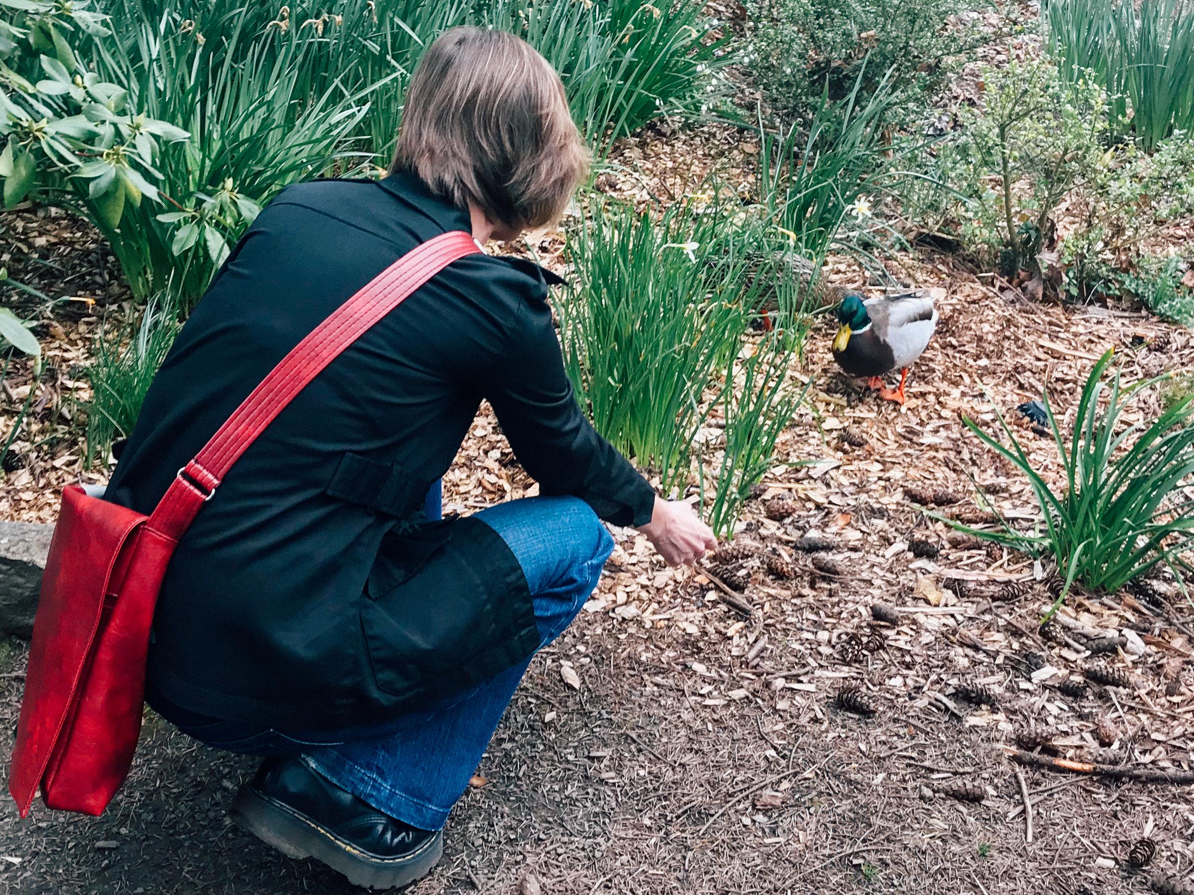Elaine talks with the ducks