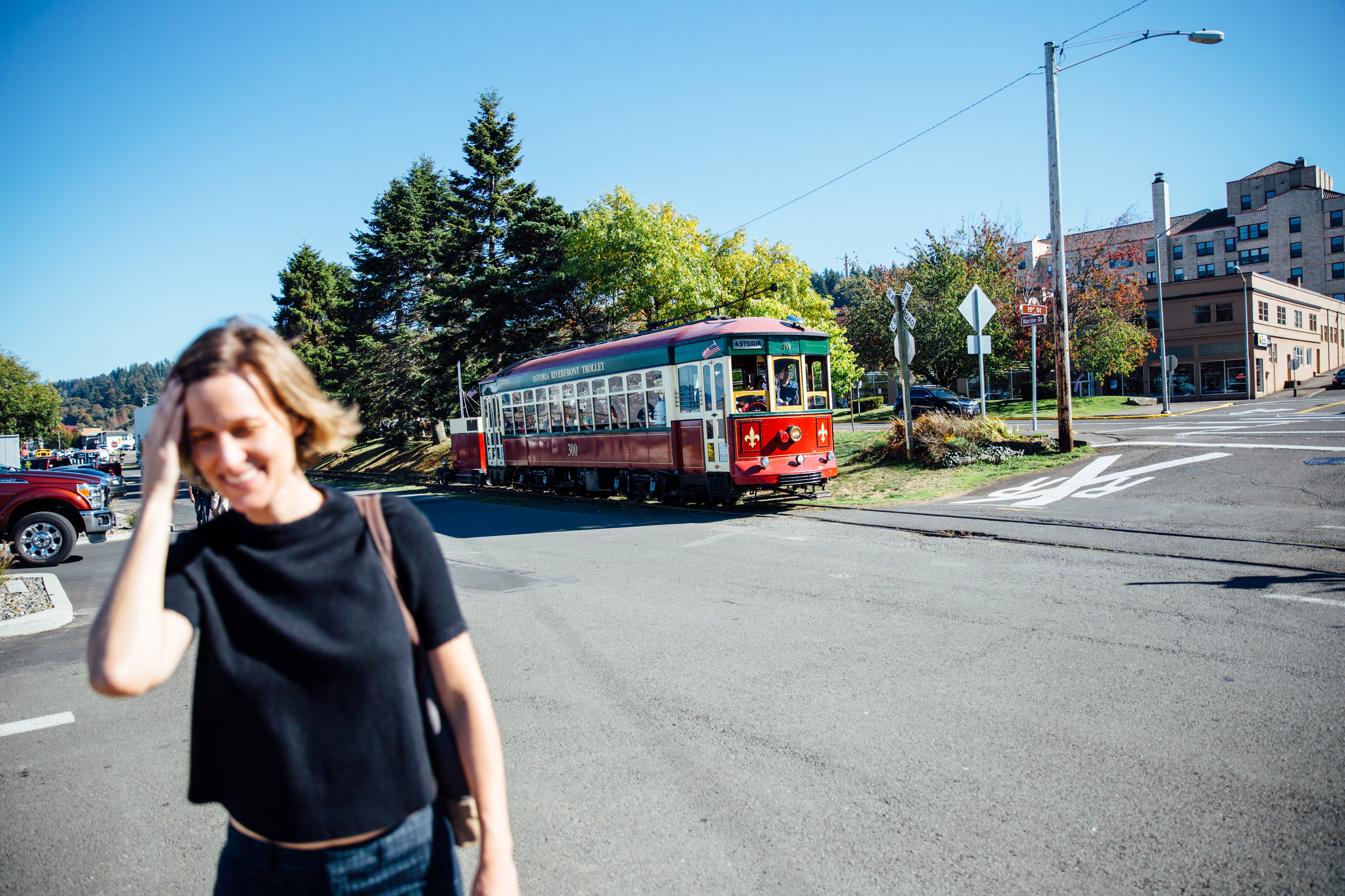 Elaine Schimek in front of the Astoria Riverfront Trolley