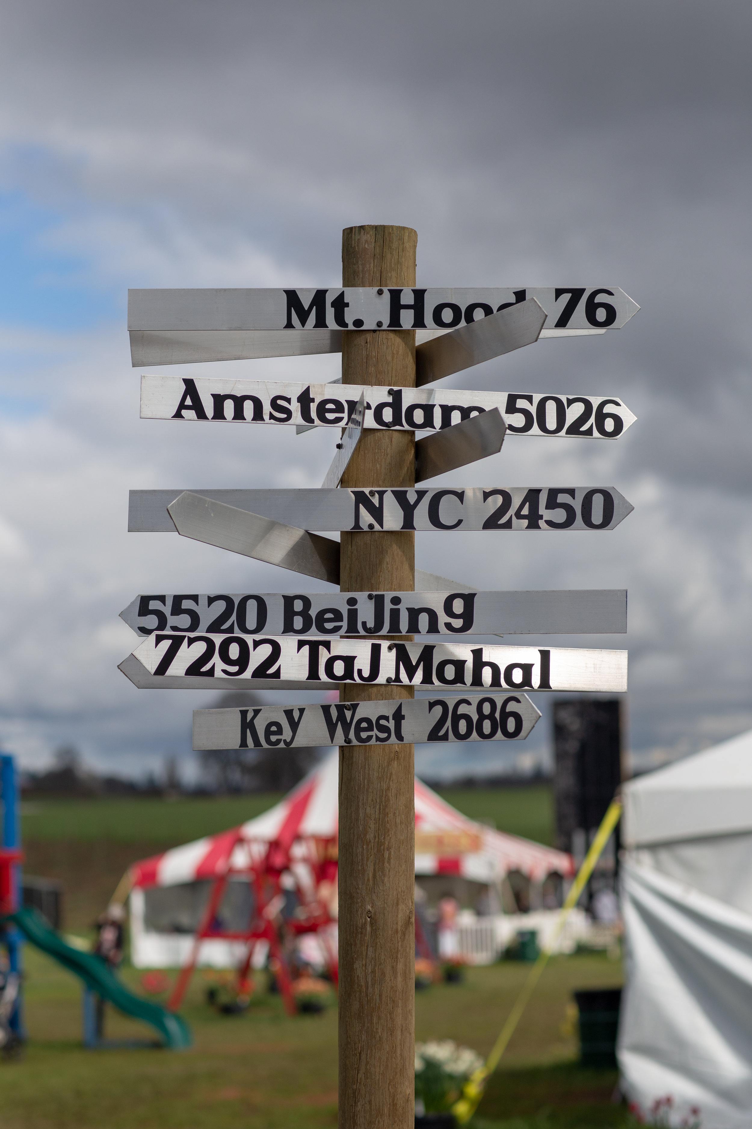Mileage sign in the middle of the fest