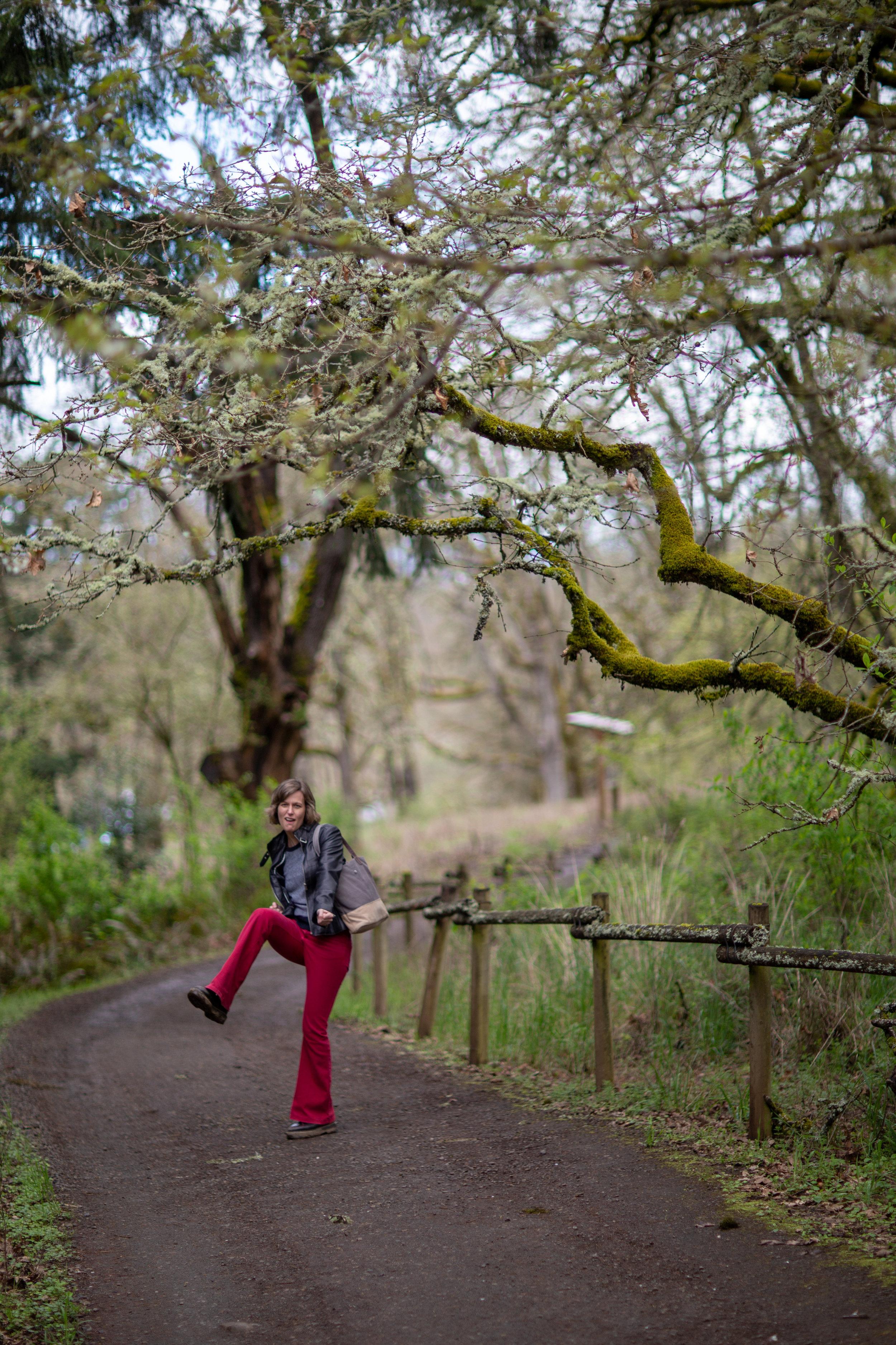 Elaine having fun among the ancient oaks