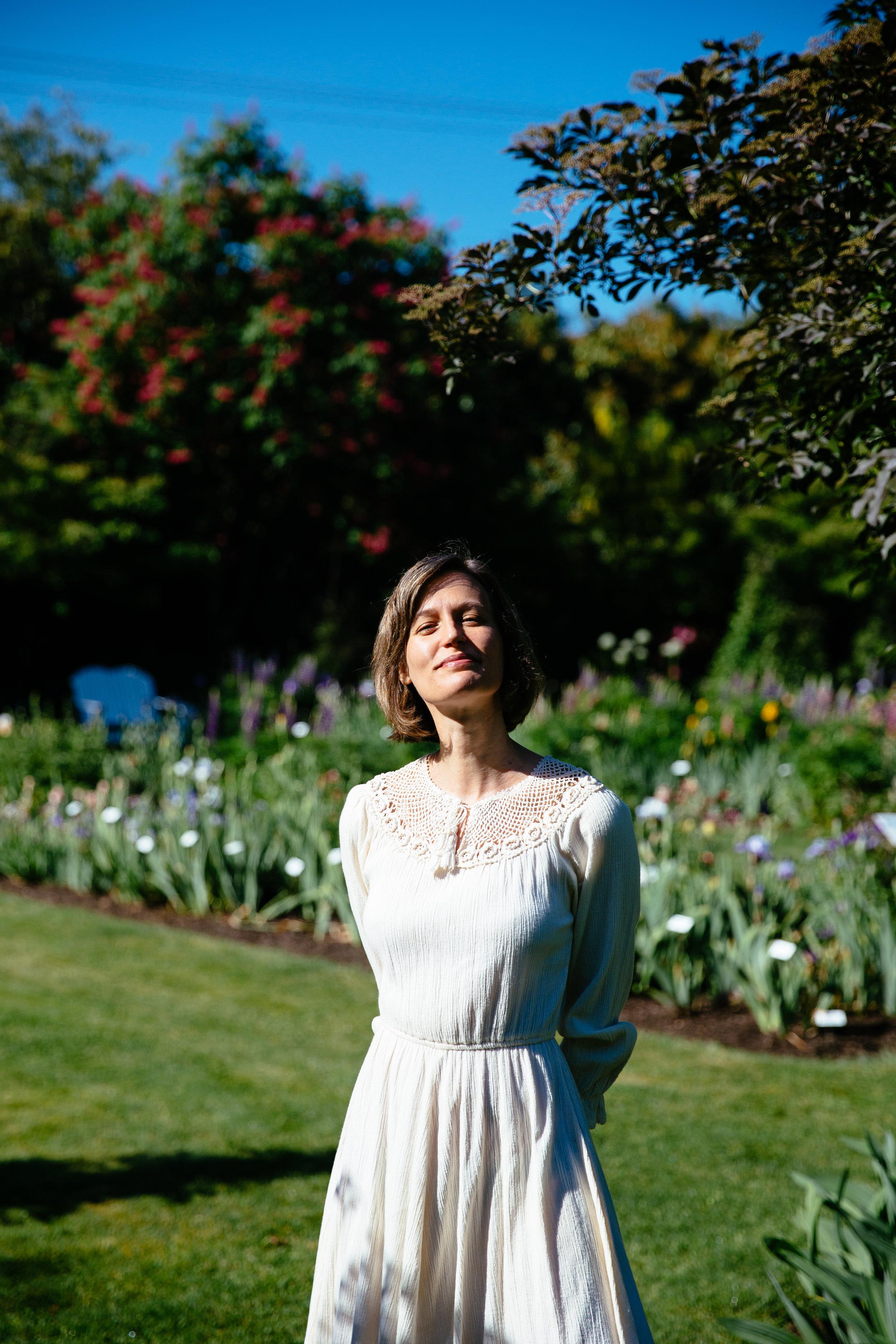 Elaine Schimek basks in the summer-like warmth