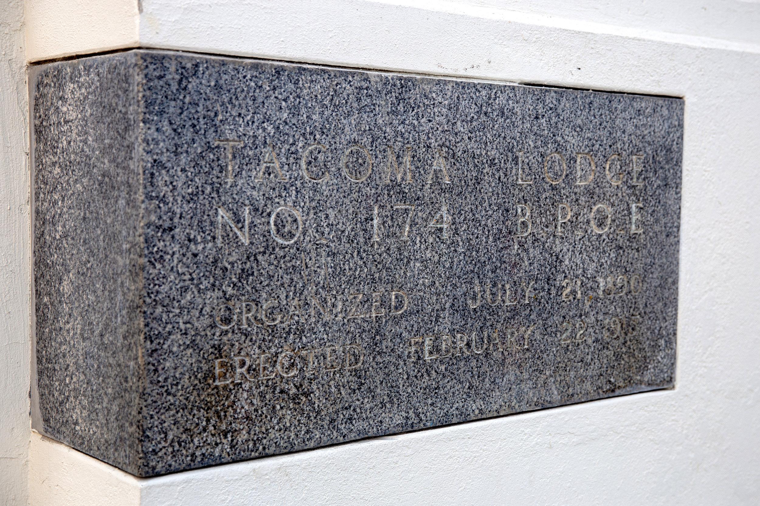Original cornerstone for the Elks temple