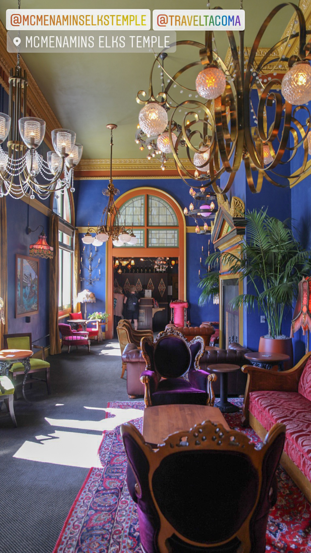 The colorful lobby