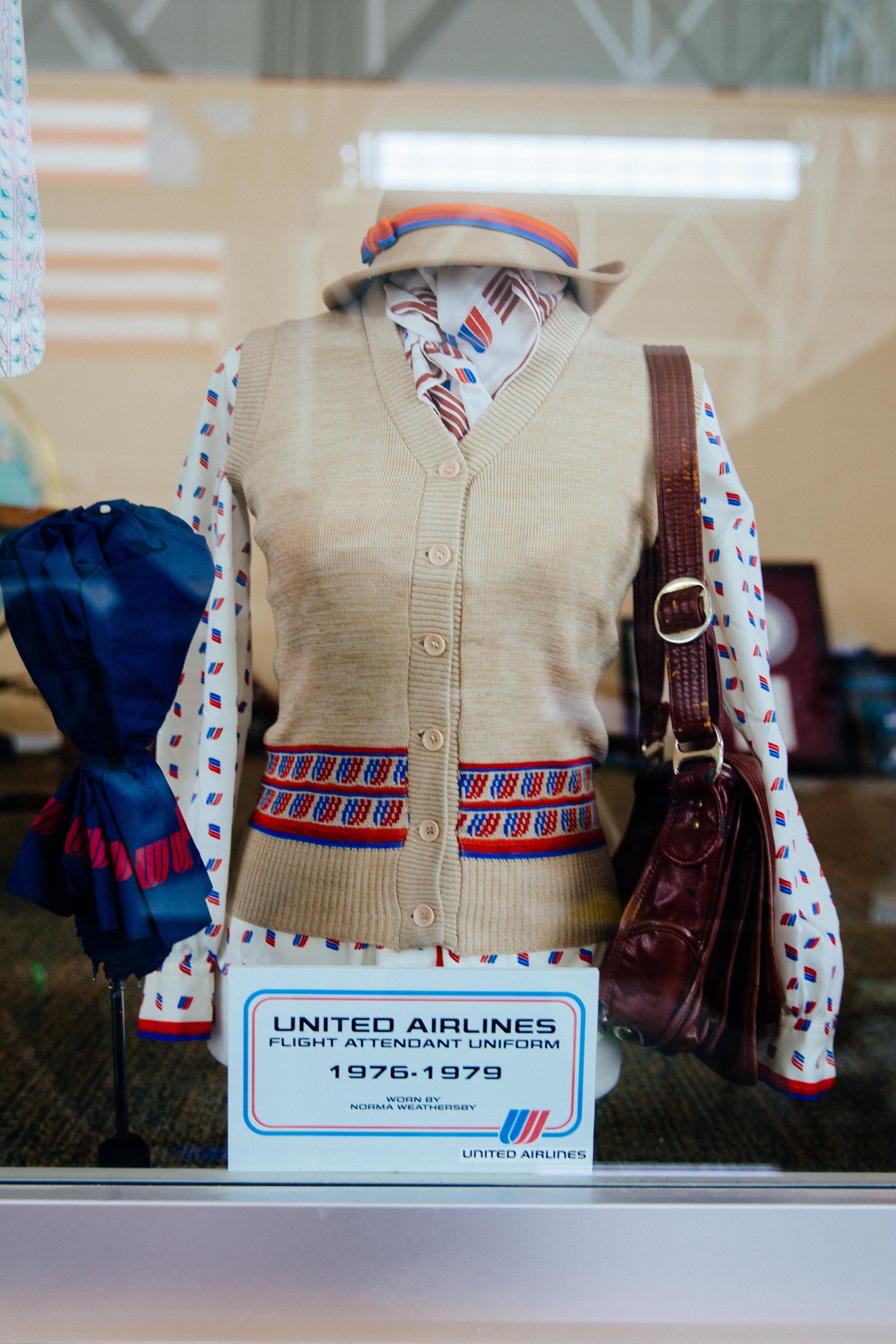 Vintage United Airlines flight attendant uniform
