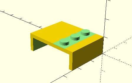 OpenSCAD design of Lego monitor bracket