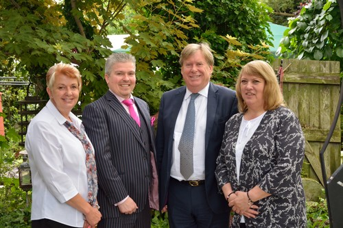 David Bell with Simon Burns MP at the Secret Garden with Jane & Wendy