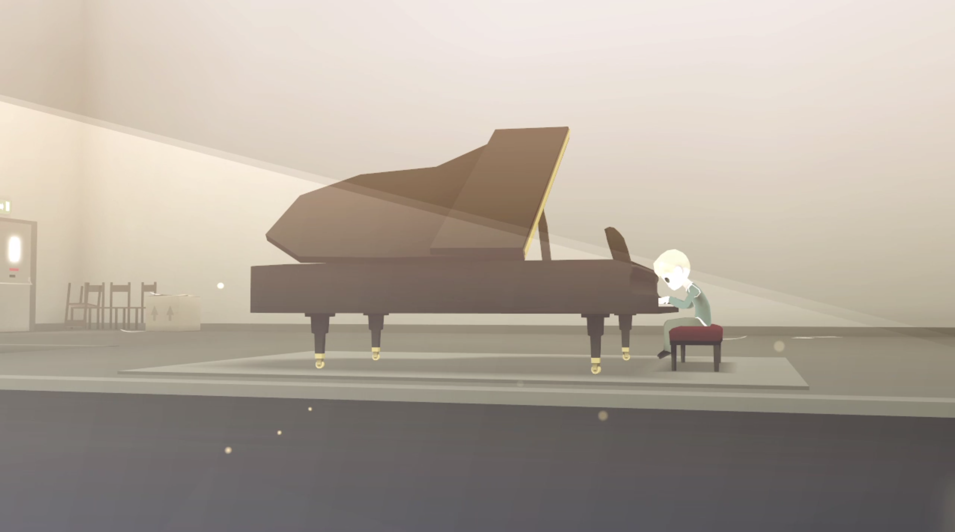 The External World  (2010): a boy plays piano among dust particles and streams of light.