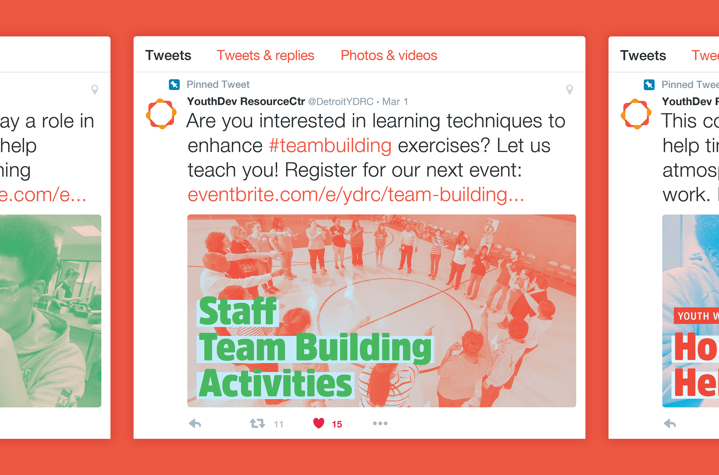 Above:    The social media campaign deployed across platforms like Twitter to broaden the visibility of YDRC's workshops and its impact with educators