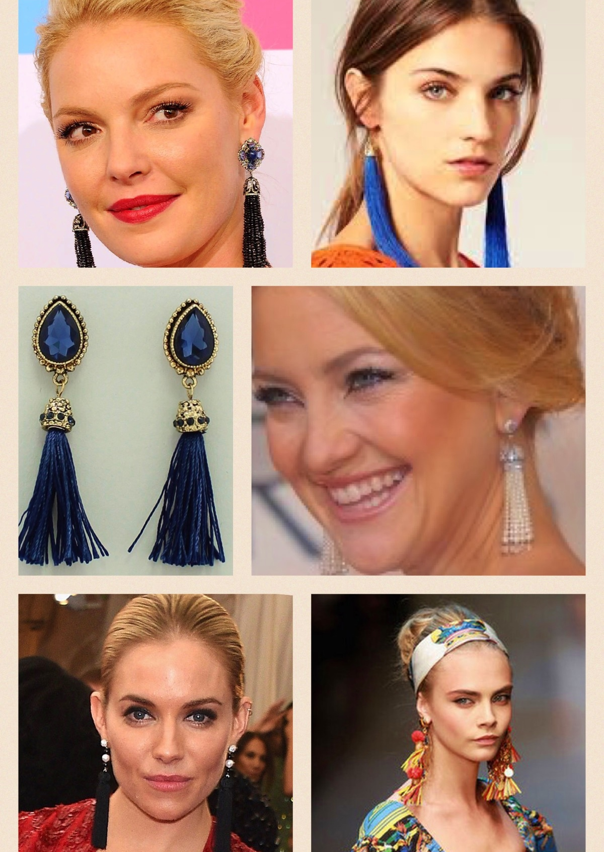 : Sapphire Tassel Earrings (shown above)  available on the FABFINDS webstore :   https://www.fabfinds-ainsleyandchase.com/shop-fabfinds