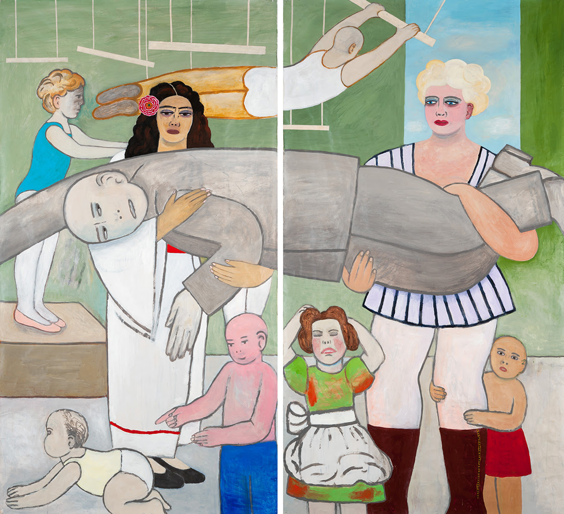 Fay Jones,  Behind the Curtain , 2017, acrylic and collage on Okawara paper, diptych