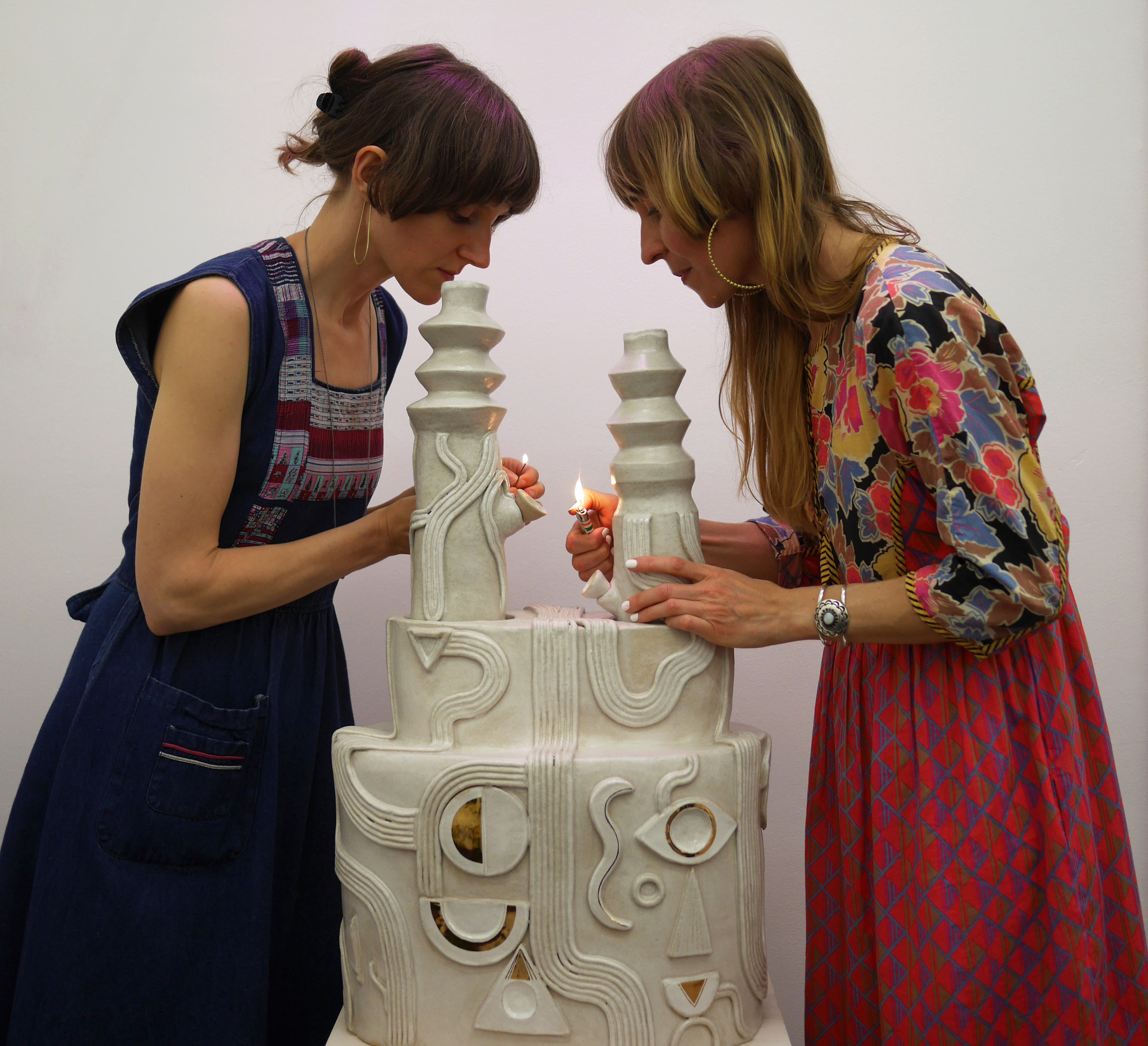 """Artwork by Emily Rae Counts and Jessie Rose Vala  Exhibition: Vala Rae  Artists with """"Lover's Bong"""""""