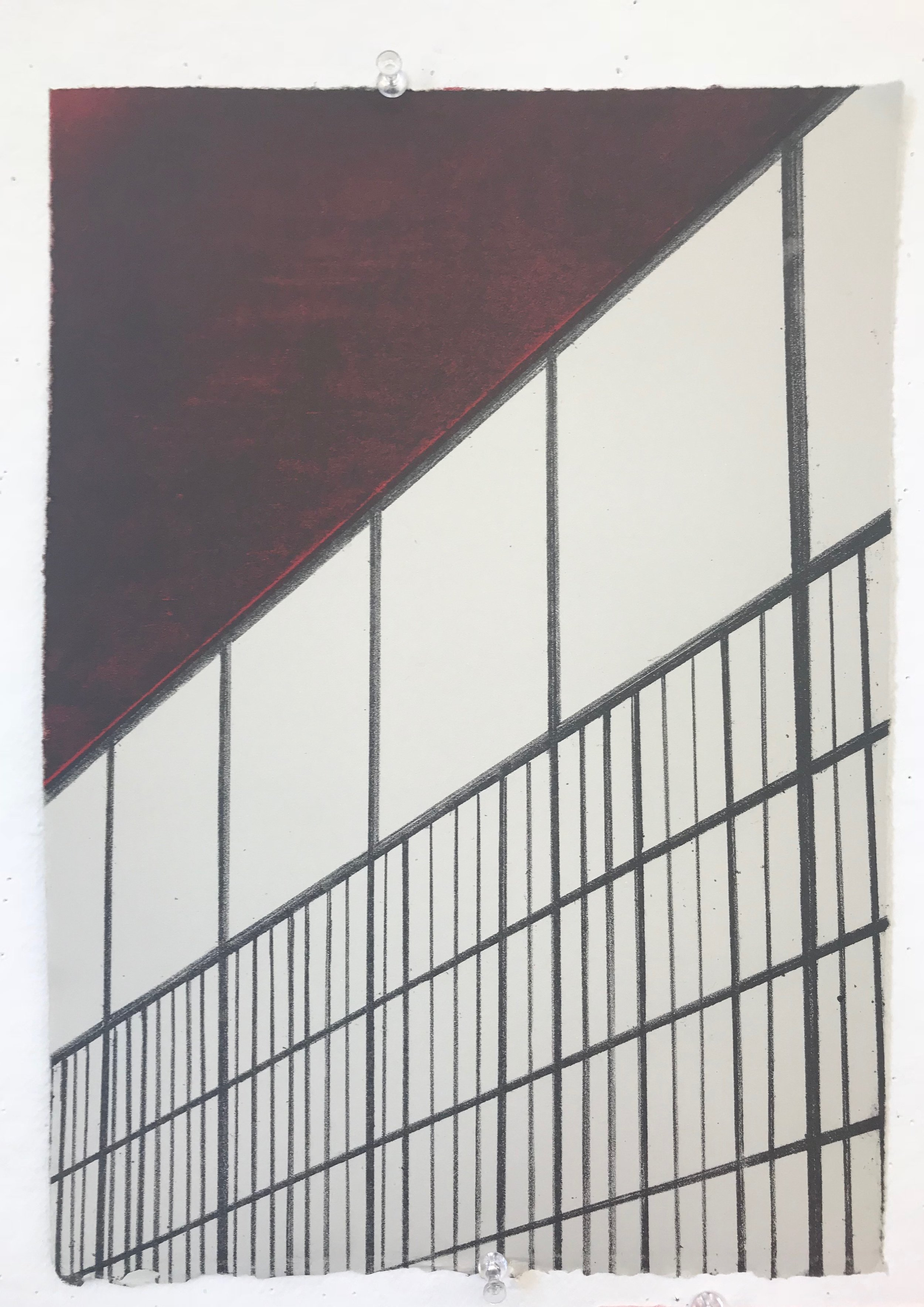 """Coliseum, Dark Red Sky , 2018, Lithograph, 14"""" x 10"""", Printed at Crow's Shadow Institute of the Arts, Collaborating printer, Judith Baumann"""