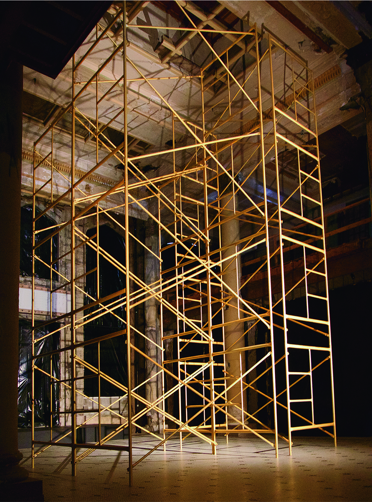 Mineral Spirits,  2016. Paint, scaffolding, looped audio. Dimensions - 68'x43'x23'. Site-specific installation for  Portland 2016, A Biennial of Contemporary Ar t. Presented by Disjecta. Astor Hotel, Astoria, OR. Curator Michelle Grabner.