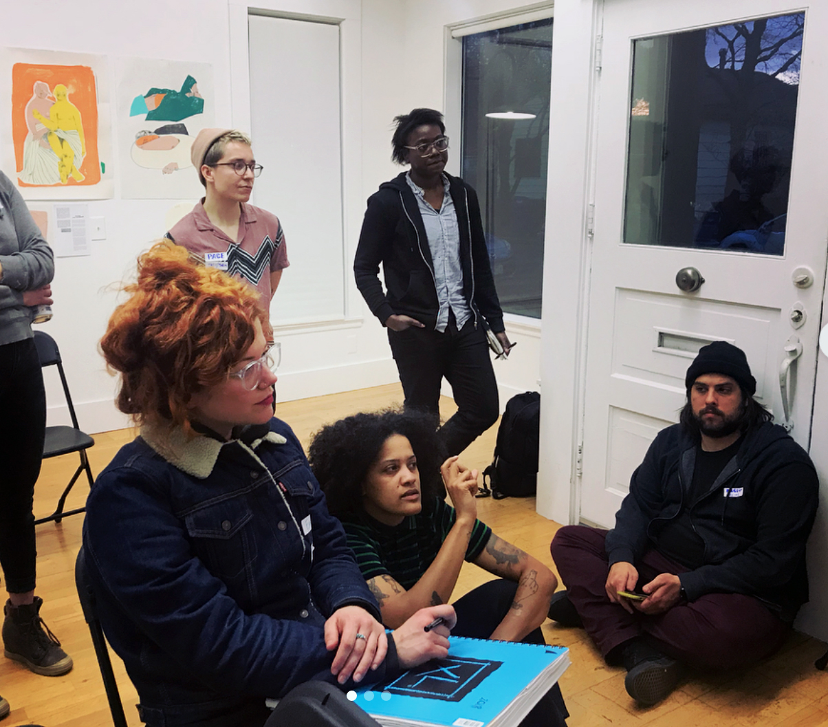 Prequel 2018 Group critique with guest Kemi Adeyemi. Clockwise from right: Marcelo Fontana, Alan Page, Pace Taylor (Pace's artwork seen in the background), Emily Wise, Kemi Adeyemi.