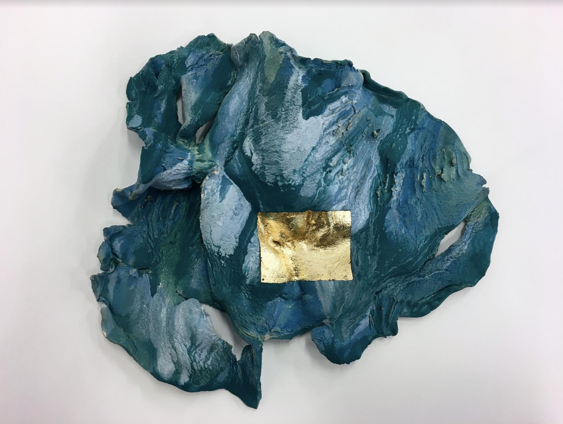 """Glow.  Stoneware, underglaze, gold leaf. (14""""H x 18""""W x 4""""D)"""