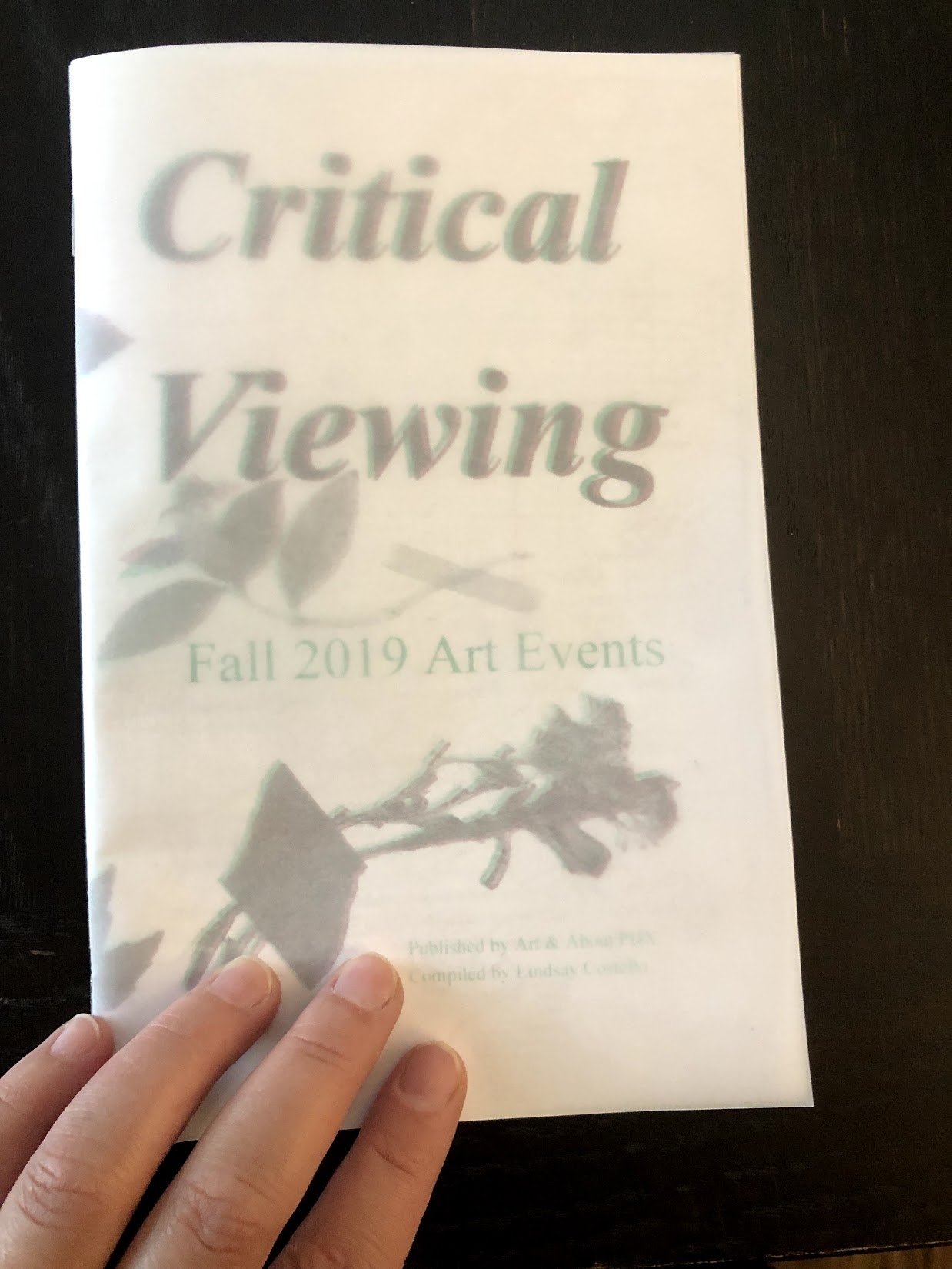 Critical Viewing Fall 2019 Art Events  publication