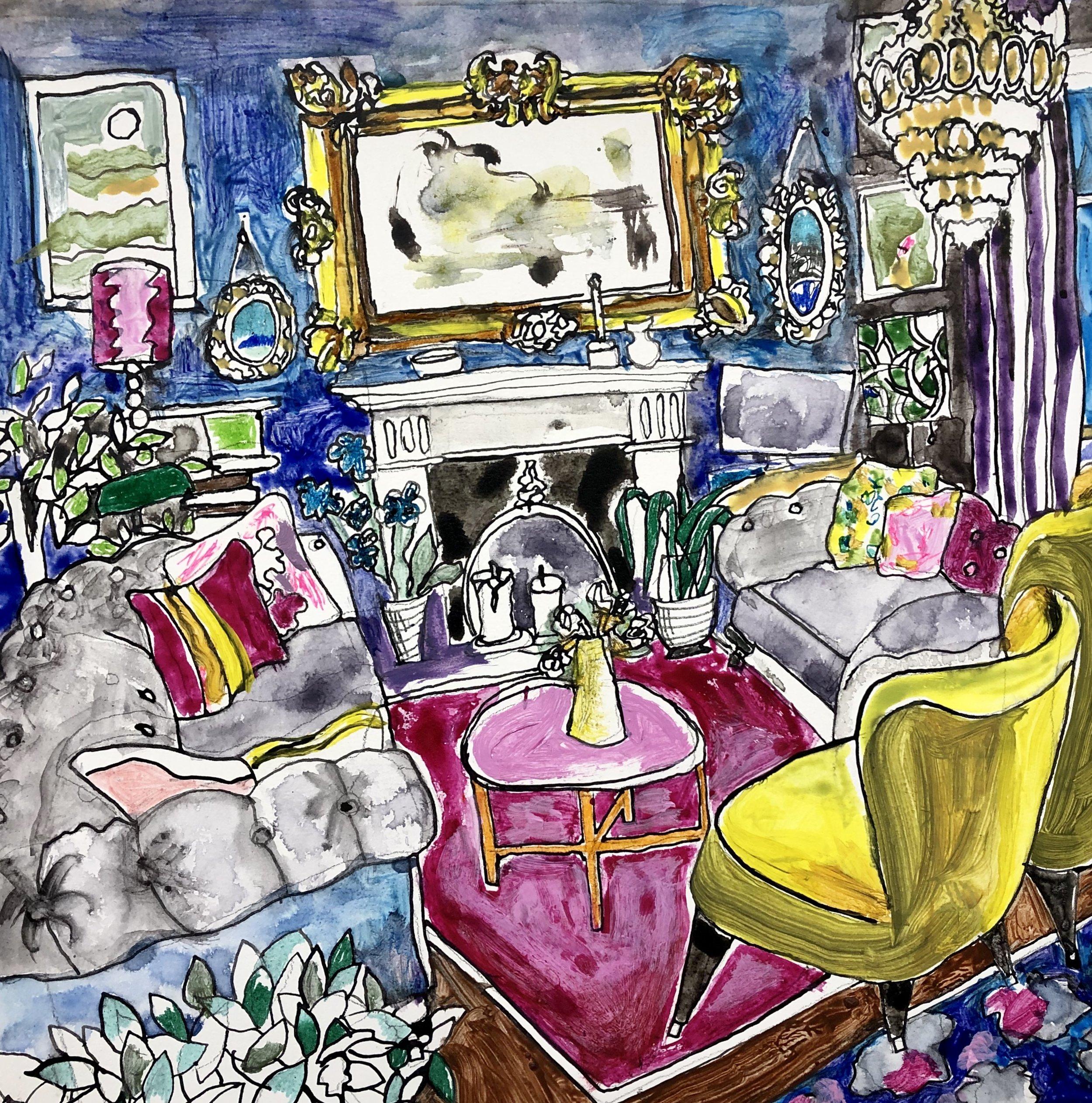 Salon!  Ink, Acrylic, Watercolor