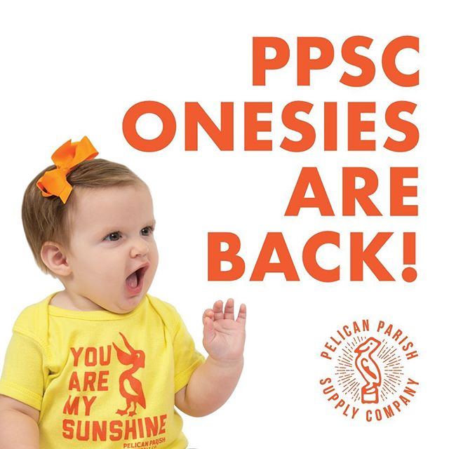 "OH BABY! Pelican Parish onesies are back! Check out the site for new baby threads and take 10% OFF ANY ORDER  through Monday, August 5 by entering the code ""ONESIE"" at checkout! Link in bio. . . #pelicanparish #louisiana #shoplocal #pelican #shreveport #bossiercity #monroe #minden #ruston #natchitoches #alexandria #lafayette #lakecharles #batonrouge #nola #pelicanparish #onesie #baby"