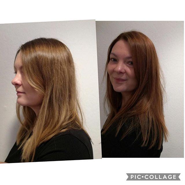 #Before#after#longhair#blondehair#warm#chesnut#fromsummertowinther#hårologi#beautiful#weloveit#hairstyle#frisørnagel#