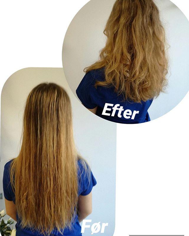 Så kom der endnu en pige med langt hår, som skulle have mere liv i håret😃  #hairdresser #longhair #cut #frisørnagel #beforeandafter
