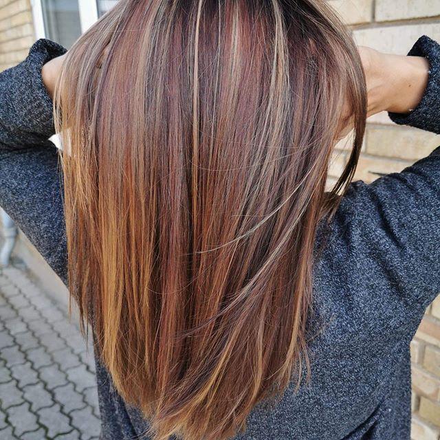 Efterårs#farve# LAKMÉ'S #longhair #reflex #redhair#brunette#loveit#hair#hairstyle#makeover #haircut💇 #frisør #nagel#