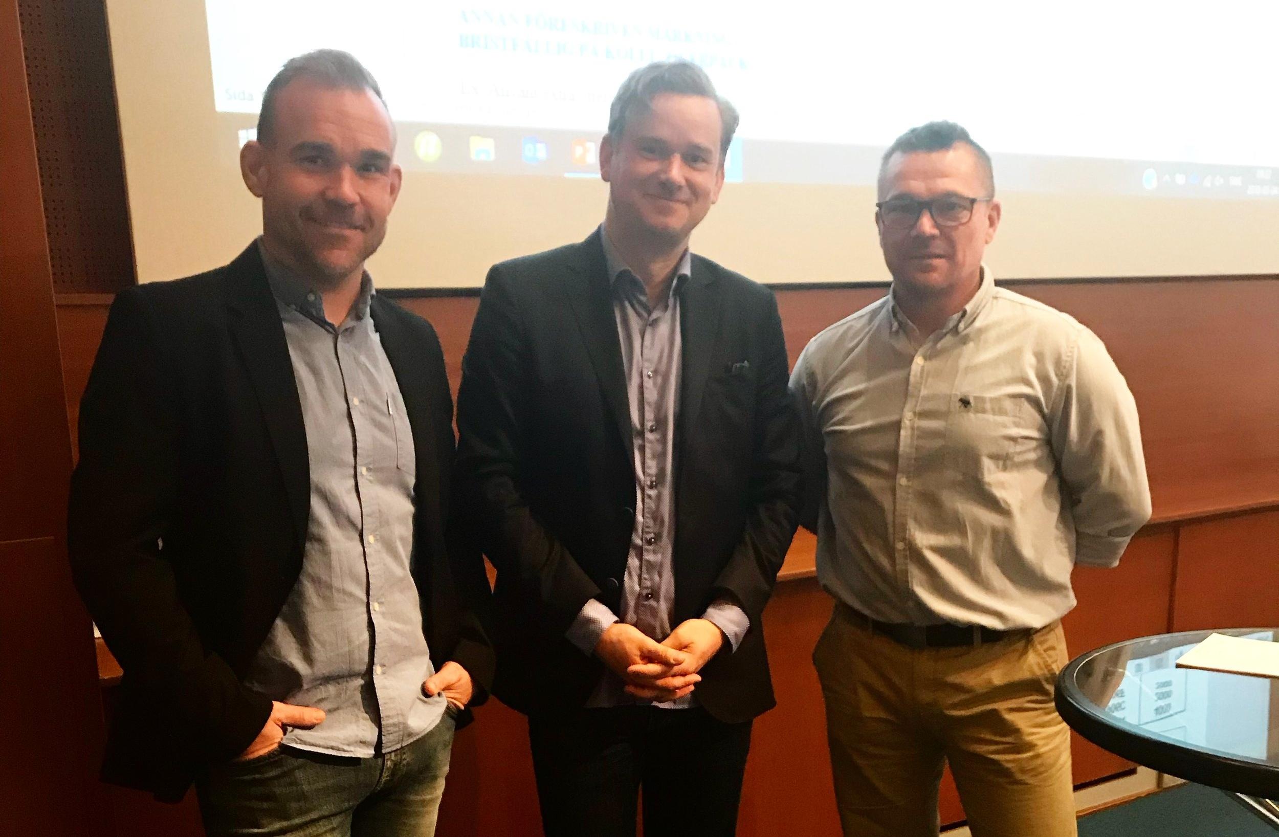 Mats Brodin, säkerhetsrådgivare DHL Freight, Pär Svahnberg, säkerhetsrådgivare KTF, Joacim Bengtson, Polisen