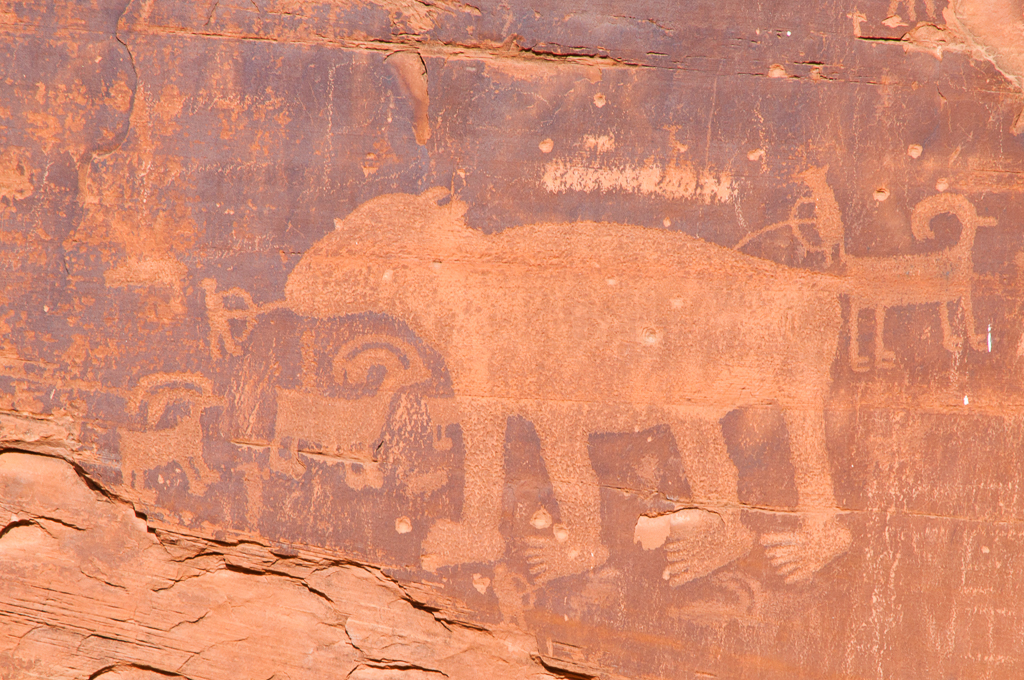 Petroglyph from the Formative Period (AD 1 - AD 1250) showing a bear with a hunter's spear at its nose.