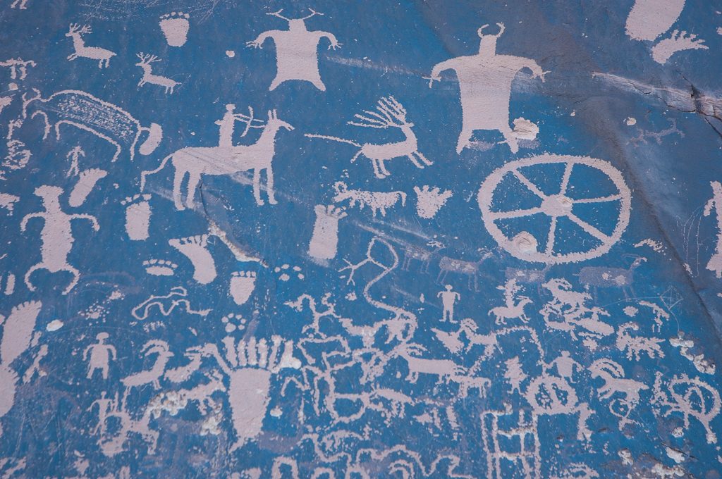 Newspaper Rock art is likely from several periods. The rock is listed on the National Register of Historic Places.
