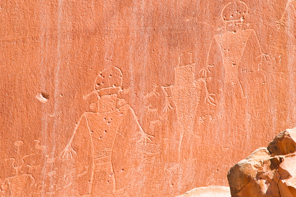 Fremont culture Indian art at Capitol Reef National Park.