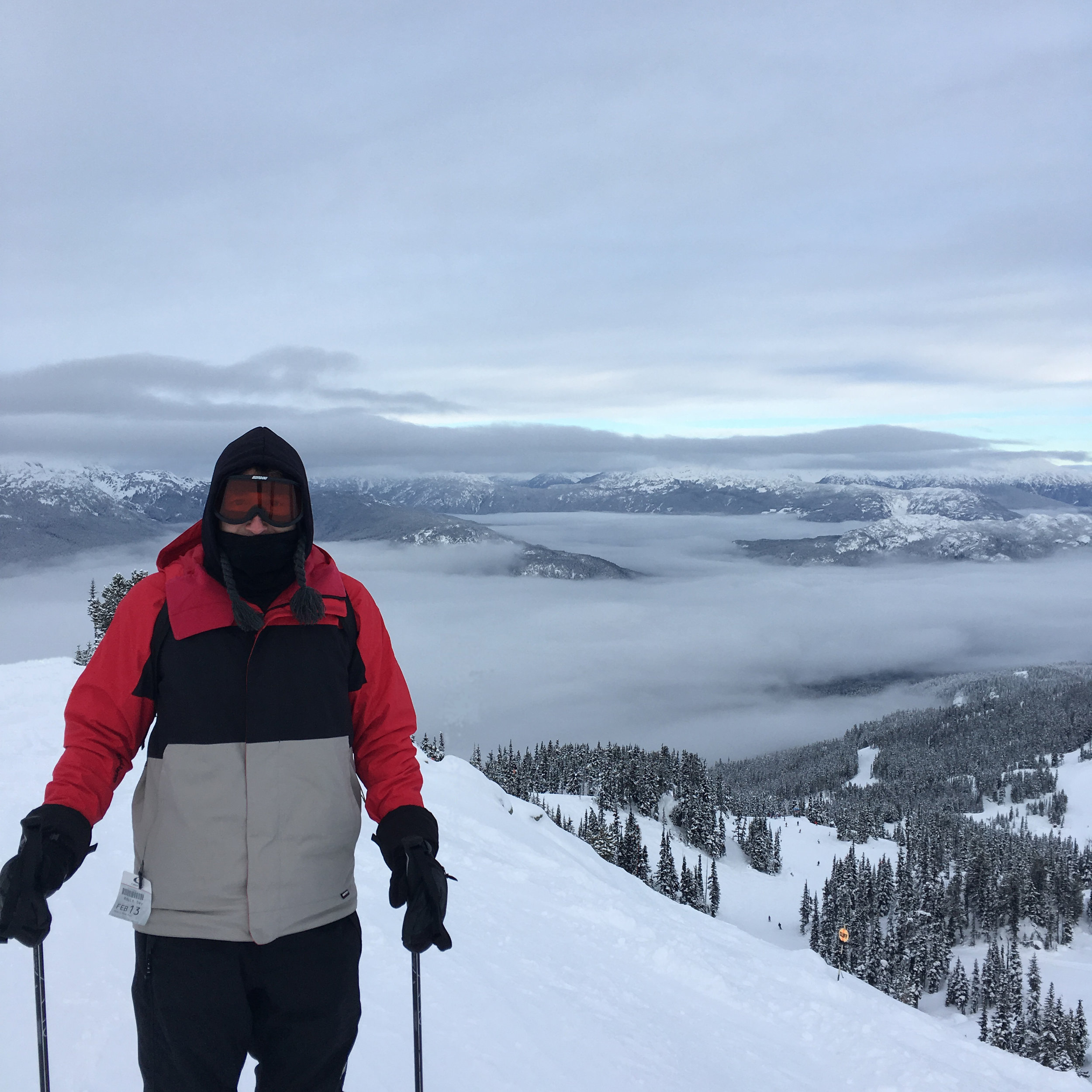 Fulcrum's Brian Hodges in-between the clouds on Whistler's iconic mountain runs...