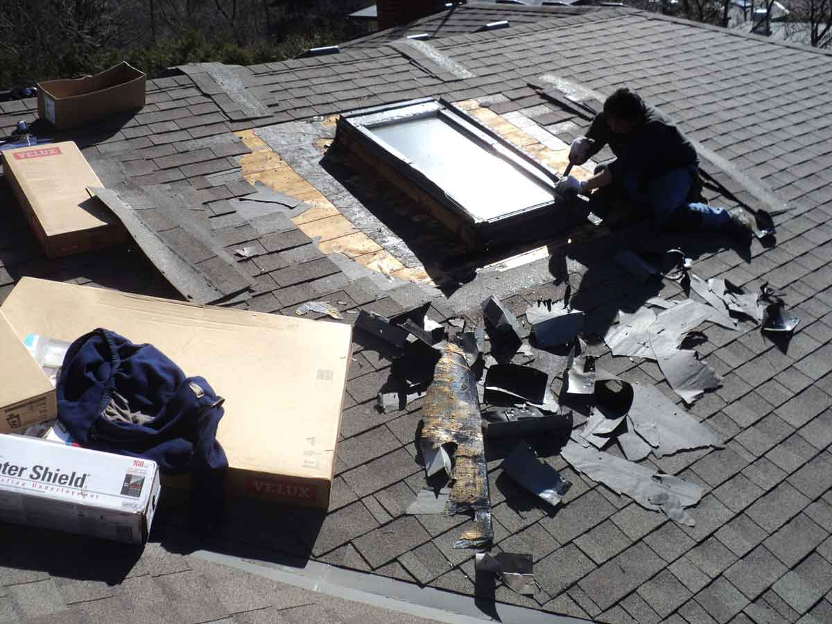 We have to remove all the shingles around the skylights.