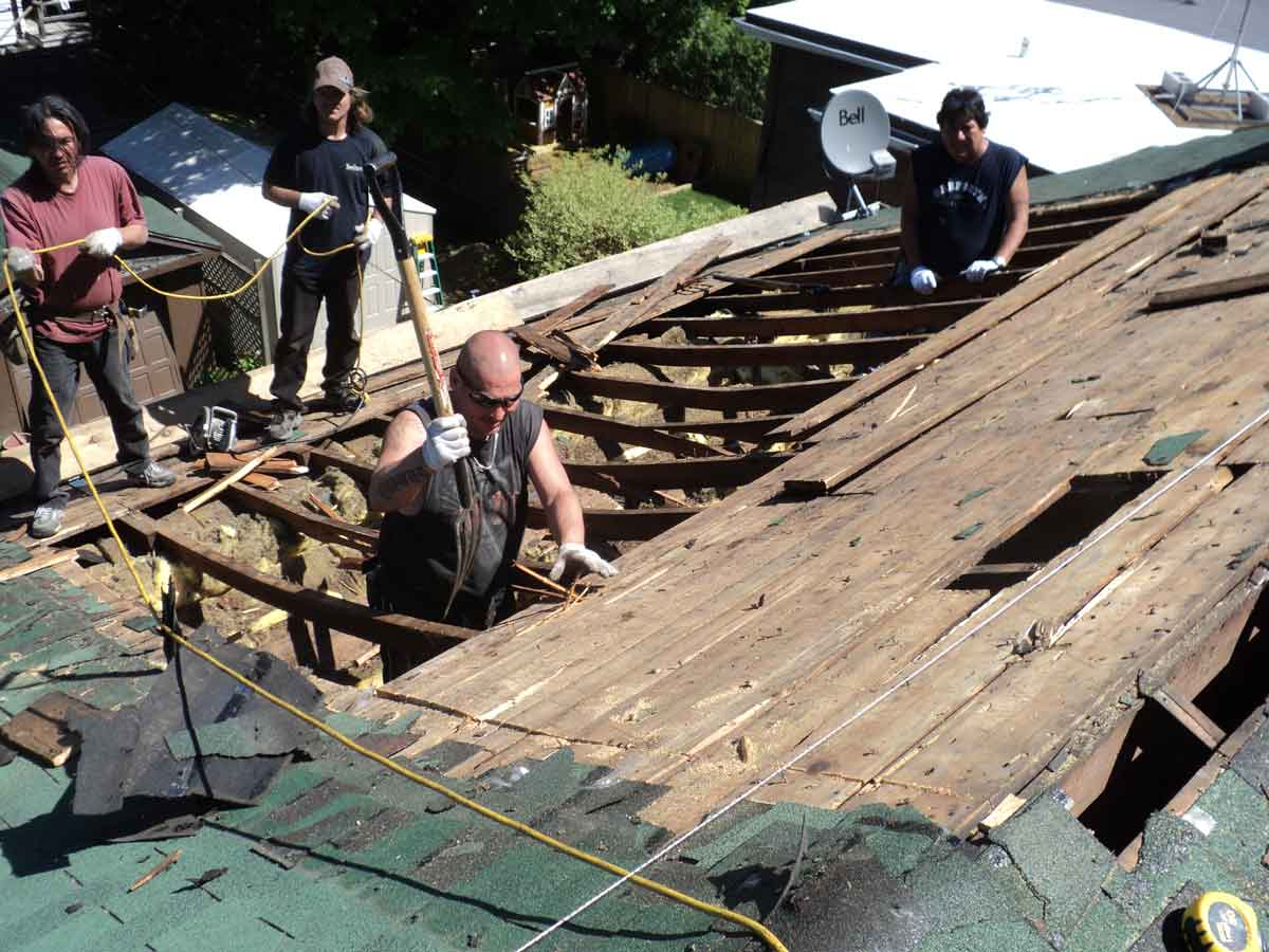 Removal and disposal of roof boards.