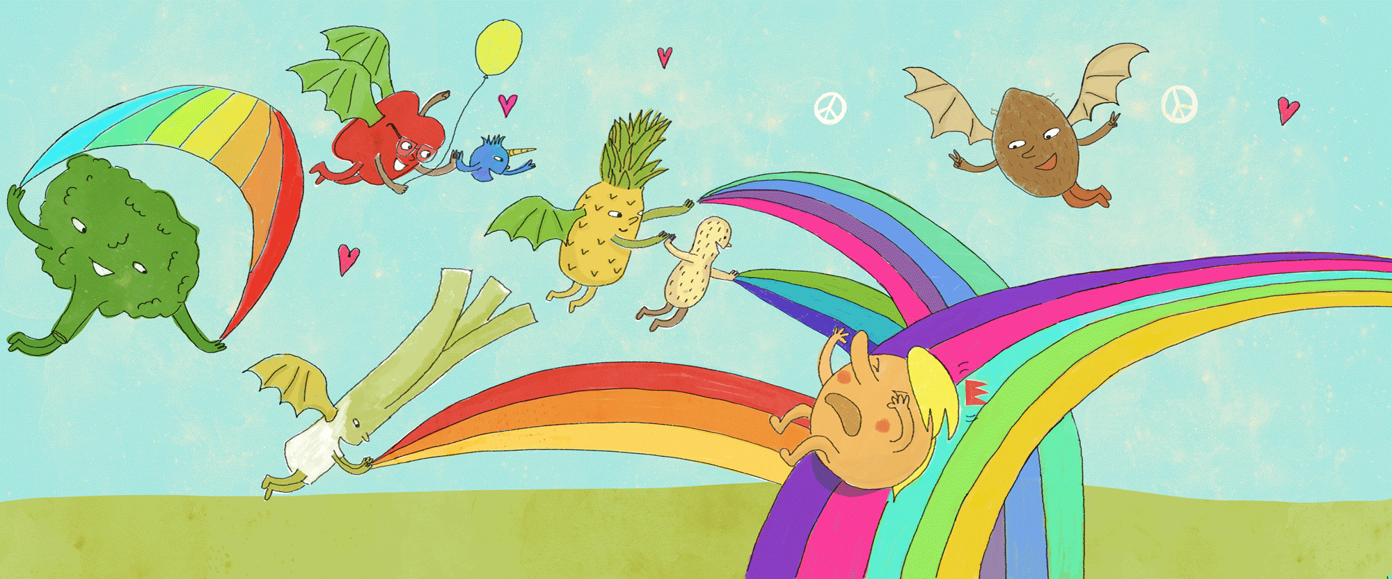 ... AND THEN THE GOOD AND HONEST FRUIT AND VEGGIES ZAPPED THE MEAN GUYS WITH RAINBOWS UNTIL THEY HAD THEIR POWER BACK!! (spread from upcoming collaboration with writer Carol Steuri for a Kickstarter project on bullying.