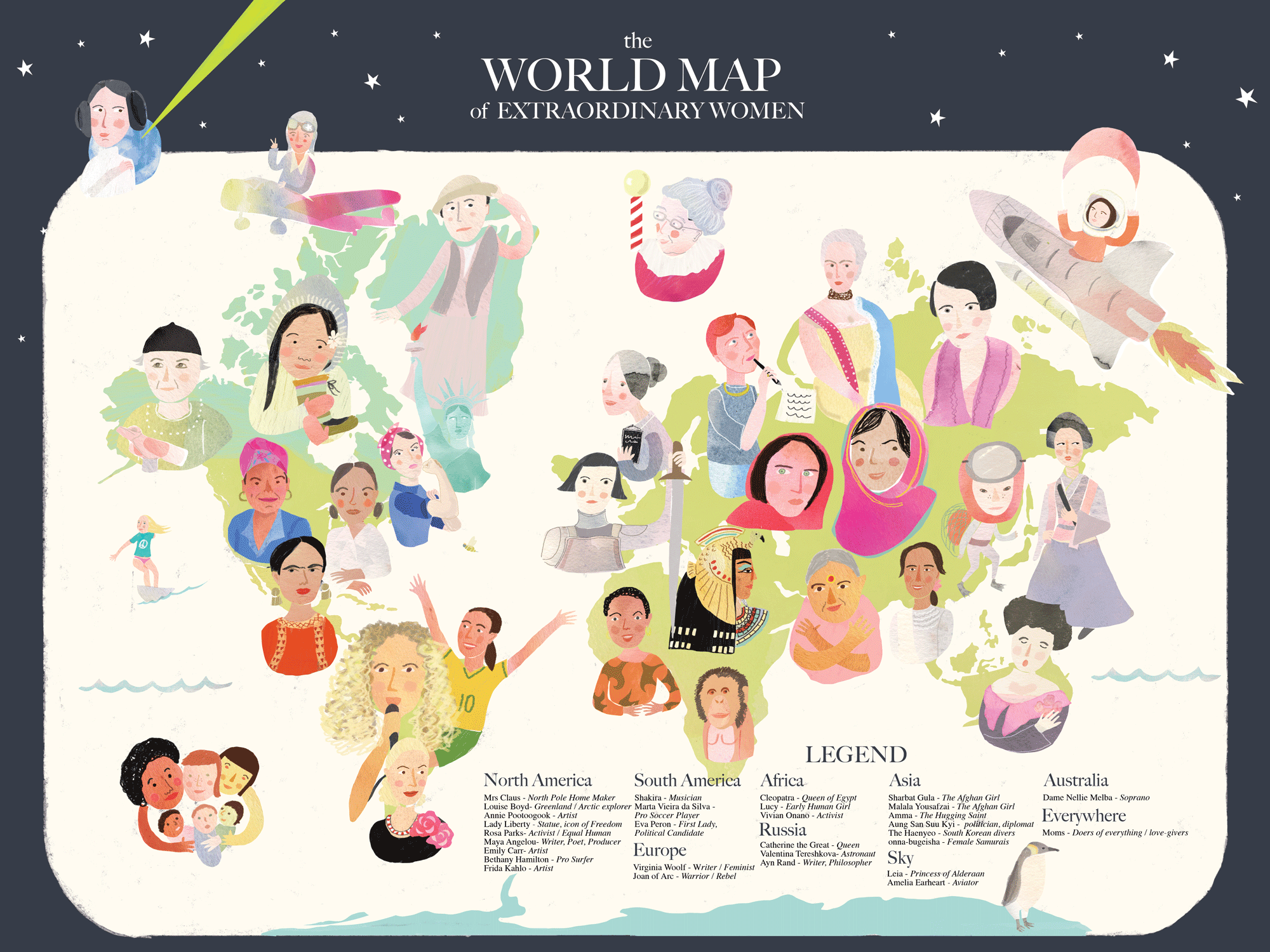 I created this map for International Womens' Day 2017. I had such fun researching all of these awesome women. You can buy  your own here!  (Each purchase comes with a download talking about each woman).