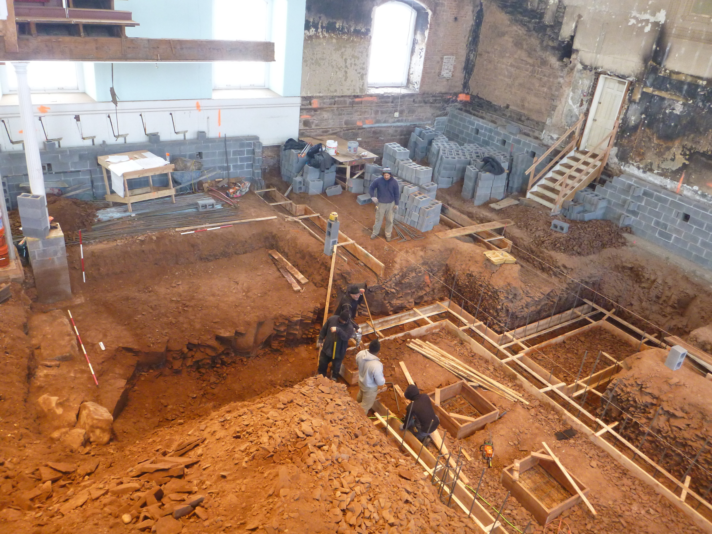 Excavations conducted on the interior of the 1812 church are conserving the historical integrity of the church's exterior.