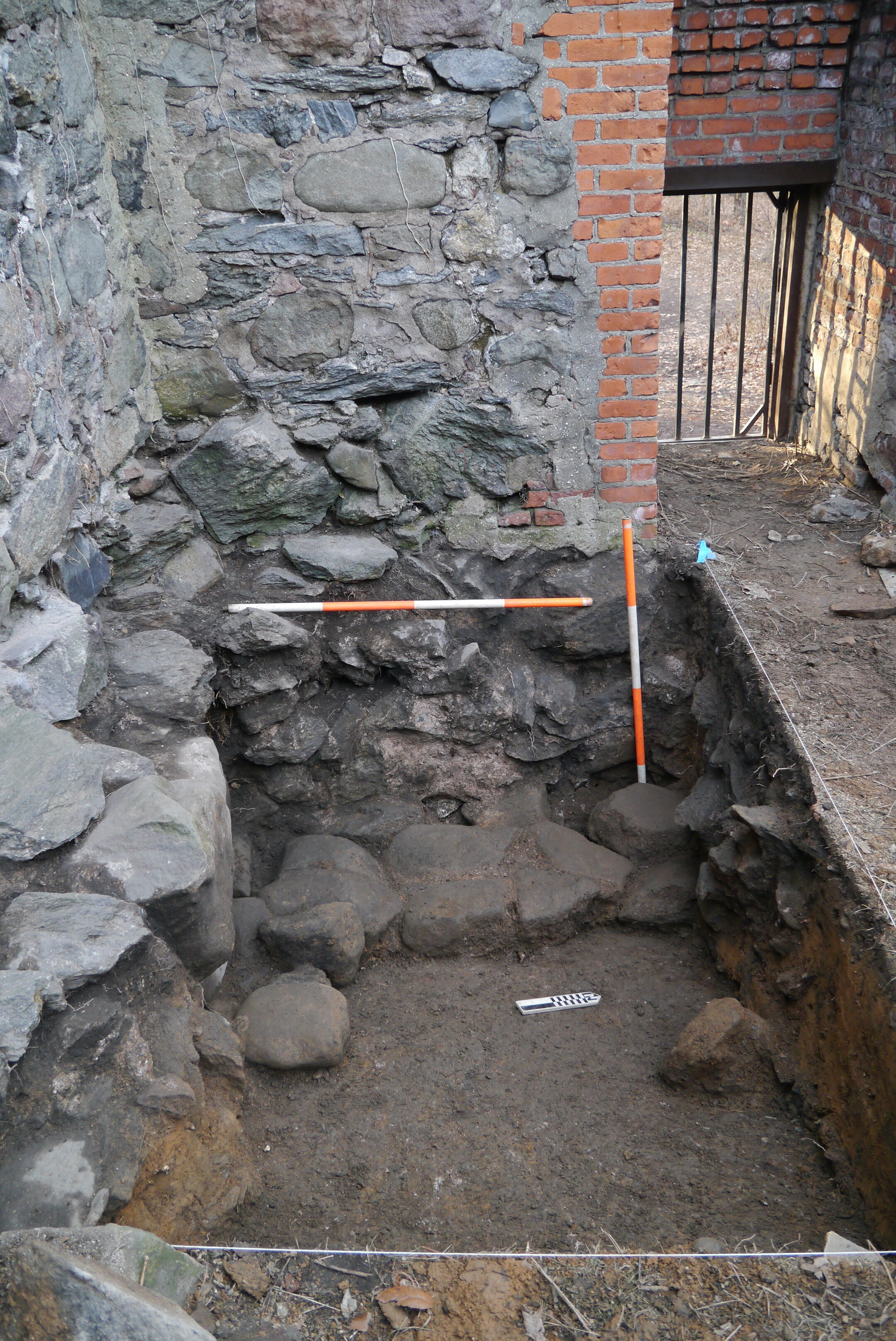 Interior excavation in blockhouse
