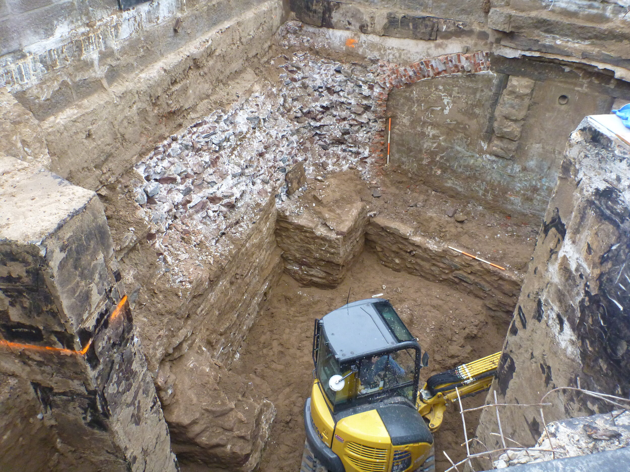 Excavating within the statue base and Fort Wood 2012
