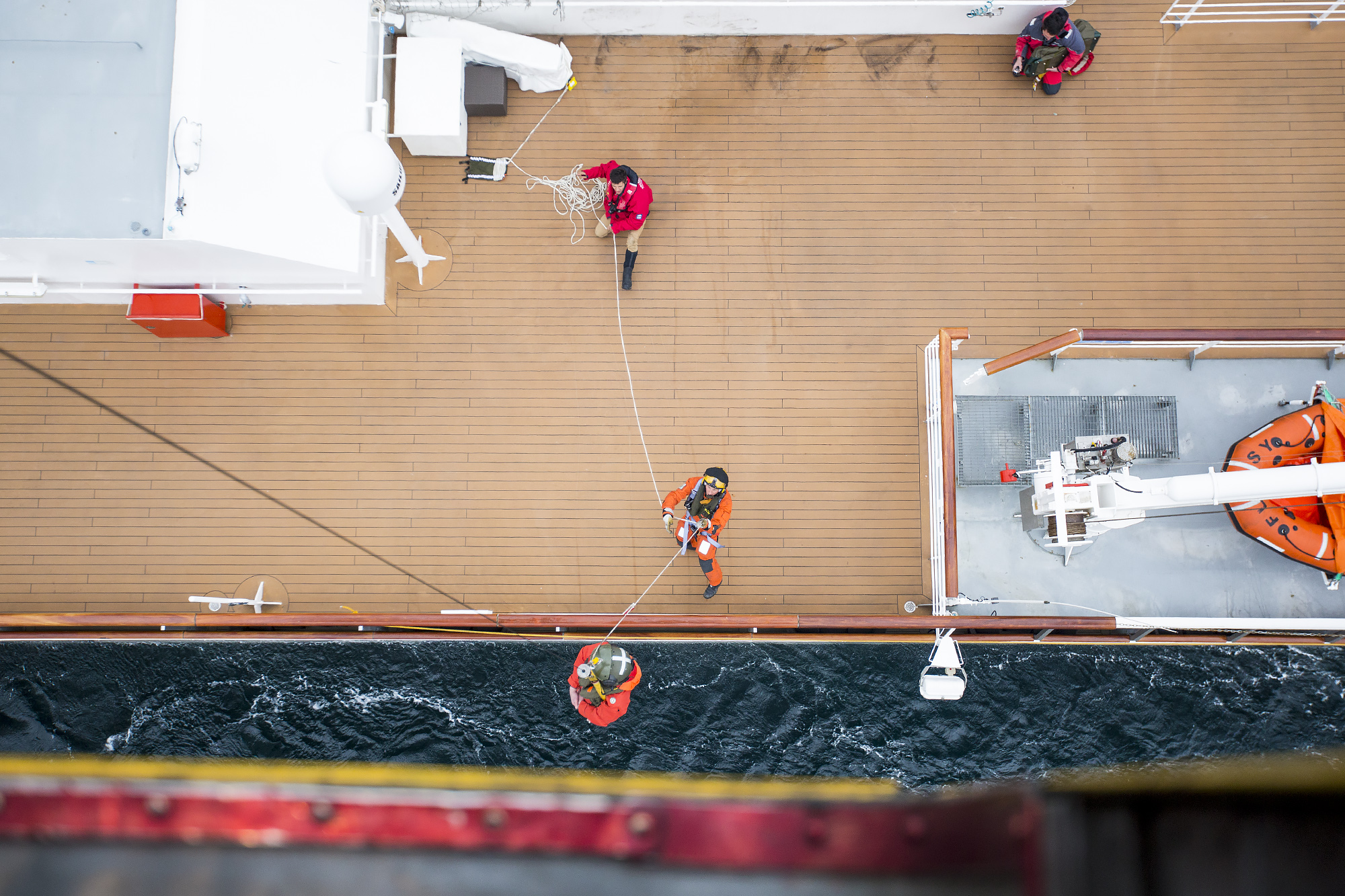 RAF Search & Rescue crew boarding La Boreal Cruise Ship after a fire broke out. Crown Copyright.