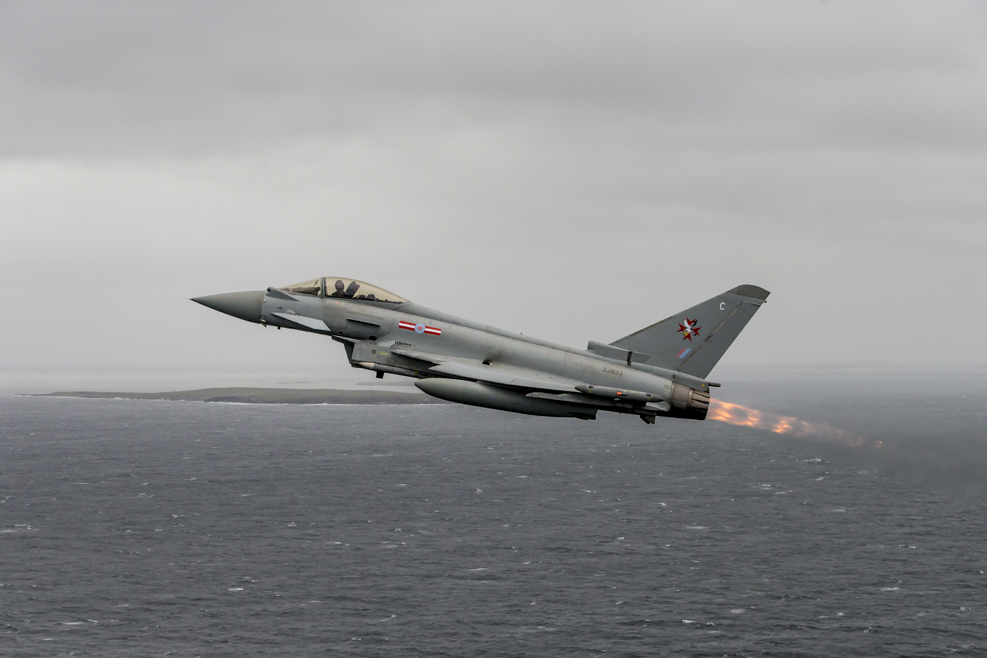 A Royal Air Force Typhoon pictured during a routine sortie in the Falkland Islands. Crown Copyright.
