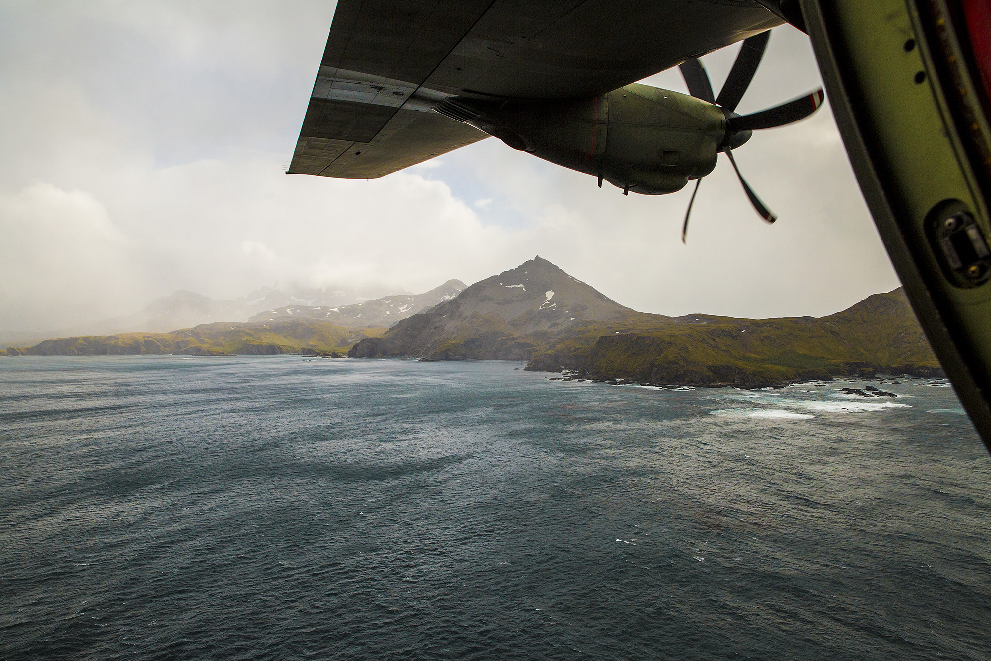 The view of South Georgia from the 'Para' door of a C-130J Hercules. Crown Copyright.