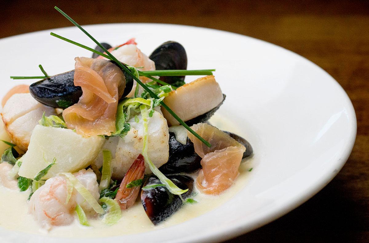It's not bleedin'chowder!, a seafood and potatoes dish. Photo by Tom Burton