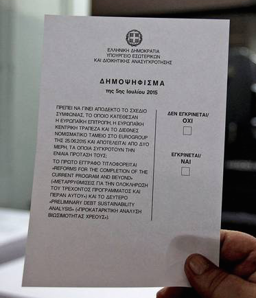 Greece's referendum ballotplaced 'No'(OXI) before 'Yes'(NAI)