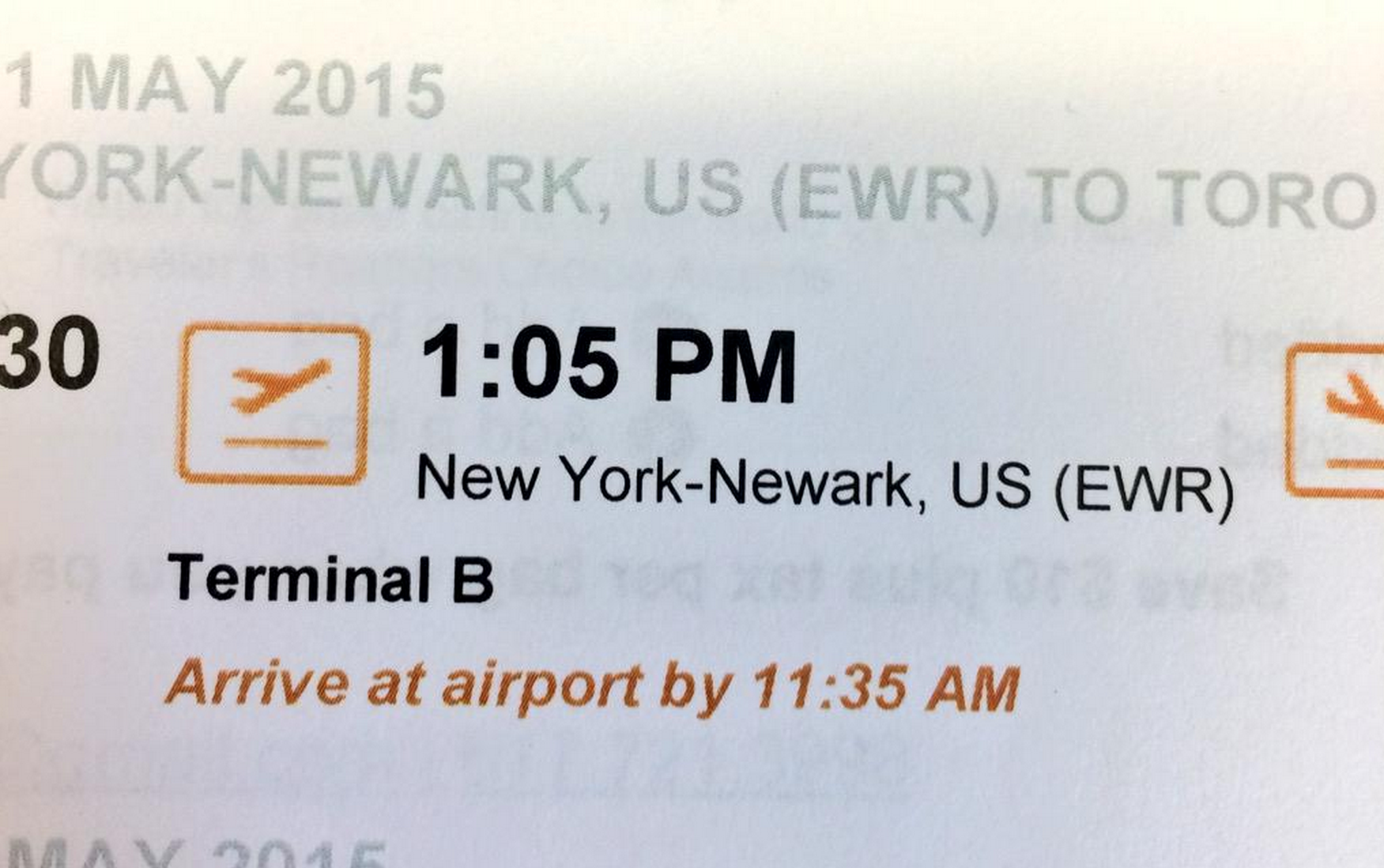 Porter Airlines (Canada) gives a suggested time to arrive at the airport