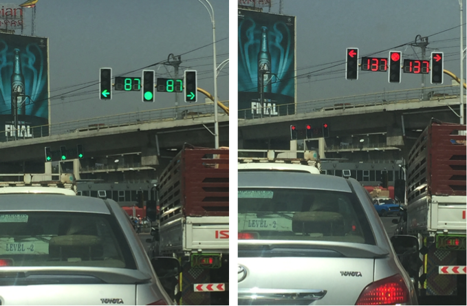 Countdown timers next to traffic lights in Addis Ababa, Ethiopia, are intended to promote safer driving.