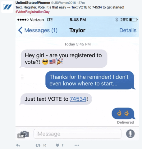 By texting VOTE to 74534, you can receive personalized information about registration and voting, as well as nudges to help you follow through on your intention.