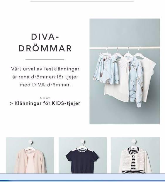 Bild på klänningar och blusar. Text: Divadrömmar. Vårt urval av festklänningar är rena drömmen för tjejer med DIVA-drömmar.
