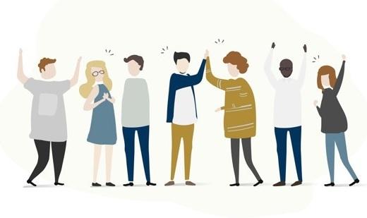 Tecknade människor på rad. Några har armarna i luften och några gör high five. Alla ser olika ut i kroppsform, hudfärg och kön.