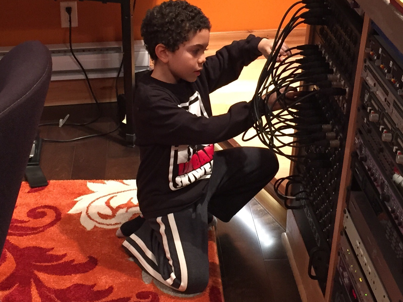Adrian wiring up the patchbay
